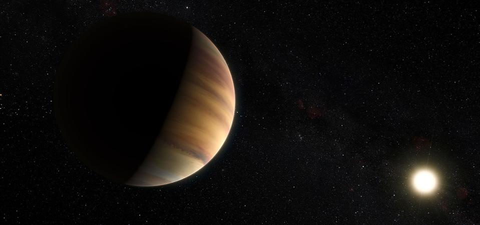 This artist's view shows the hot Jupiter exoplanet 51 Pegasi b, sometimes referred to as Bellerophon, which orbits a star about 50 light-years from Earth in the northern constellation of Pegasus (The Winged Horse). This was the first exoplanet around a normal star to be found in 1995. Twenty years later this object was also the first exoplanet to be be directly detected spectroscopically in visible light.