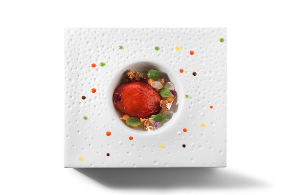 Huevos Arzak, made with tomato and corn candy.