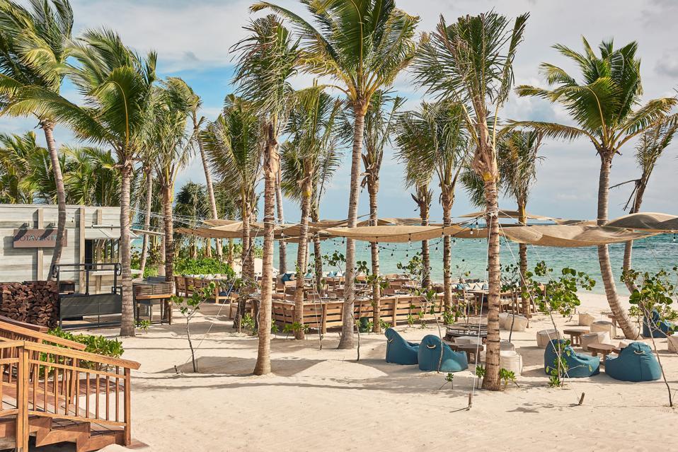 outdoor restaurant on the beach