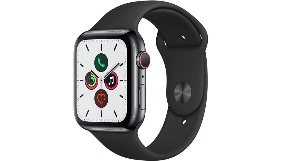 Space Black Stainless Steel Apple Watch Series 5 with white watch face.