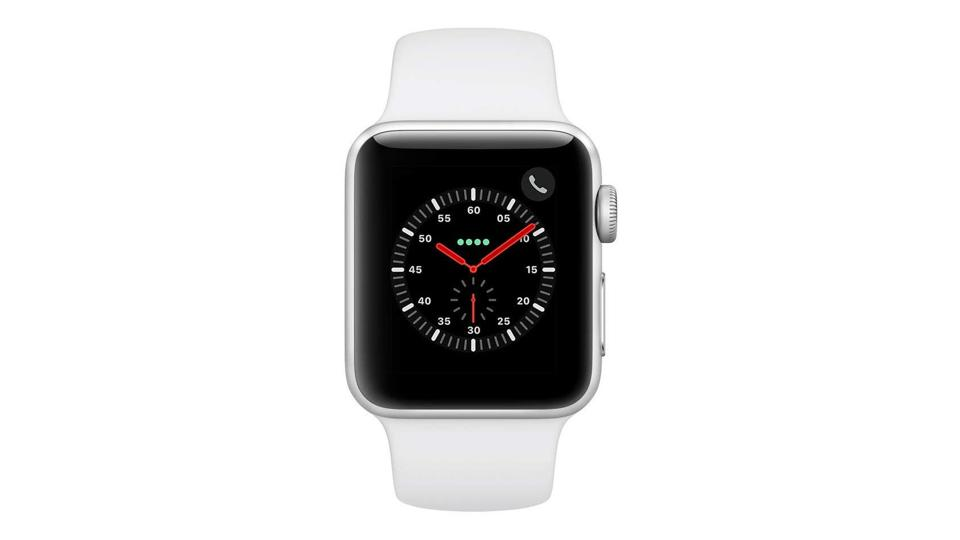 Silver Aluminum Apple Watch Series 3 with white sports band.