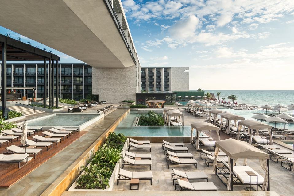 Grand Hyatt Playa del Carmen Resort pools and ocean