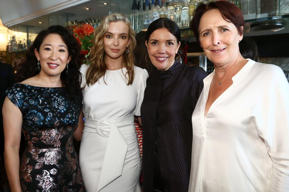 Killing Eve's Sandra Oh and Jodie Comer with Sarah Barnett and Fiona Shaw at the AMC Emmy Brunch