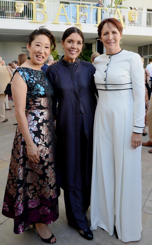 Sandra Oh, Sarah Barnett and Fiona Shaw at the BAFTA Tea Party 2019
