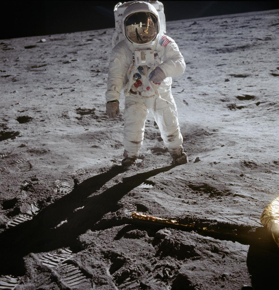 Buzz Aldrin on the Moon wearing the OMEGA Speedmaster on his right wrist.
