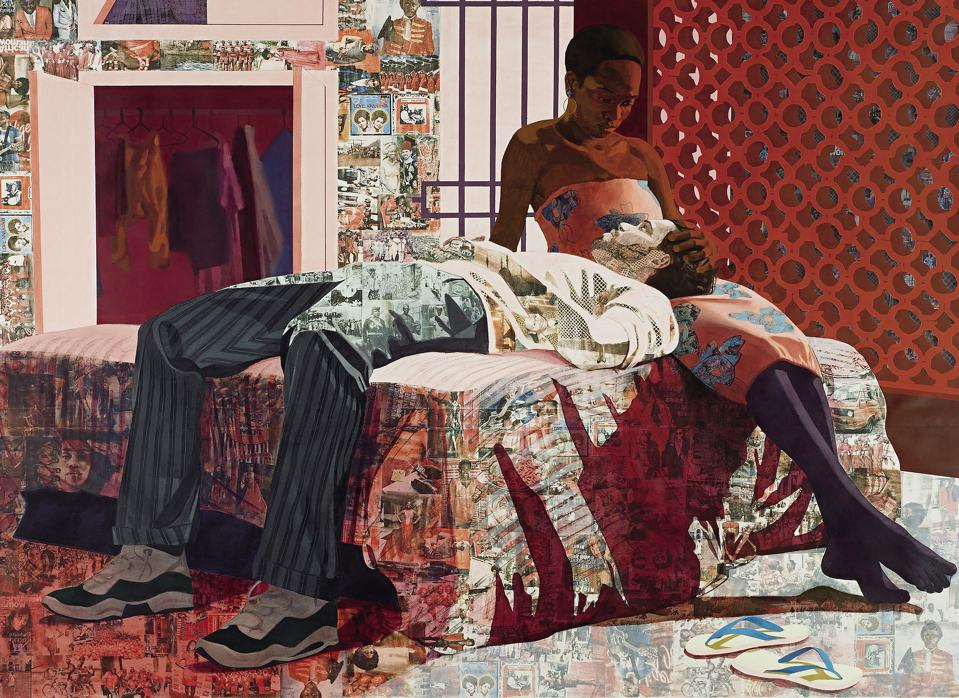 Njideka Akunyili Crosby, 'Nwantinti,' 2012. Acrylic, pastel, charcoal, colored pencil and Xerox transfers on paper; 68 × 96 in. The Studio Museum in Harlem; Museum purchase with funds provided by the Acquisition Committee and gift of the artist 2012.41.1