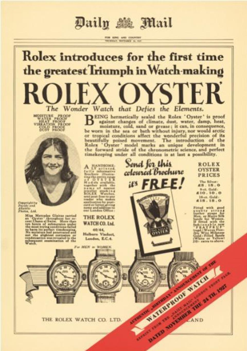 A 1927 advert for Rolex Oyster watch.
