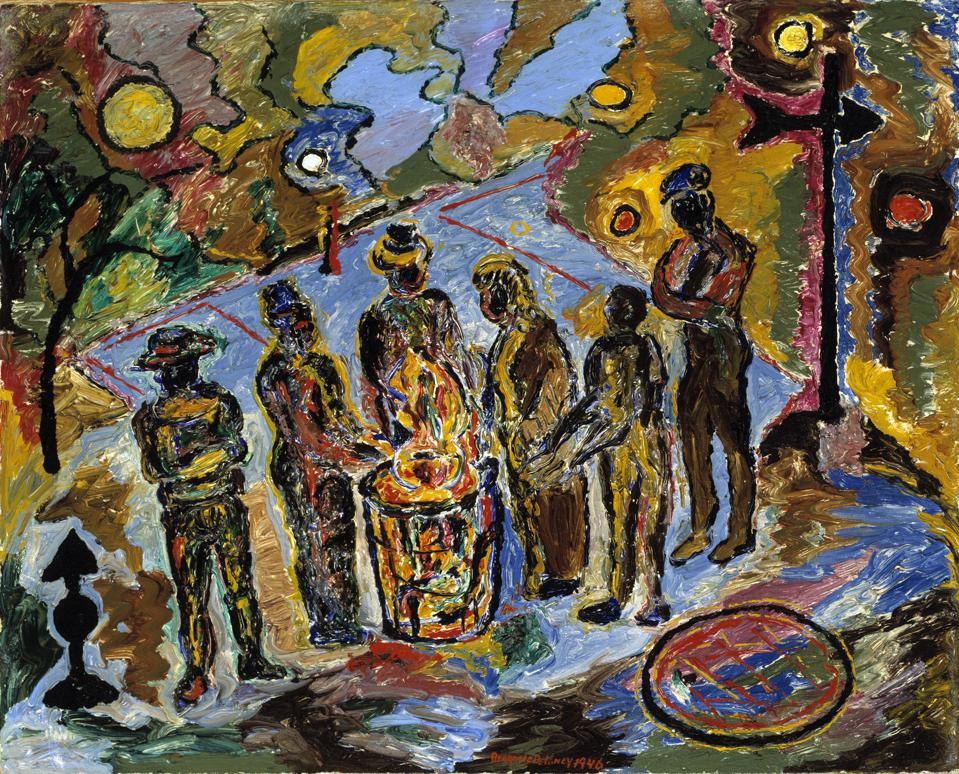 Beauford Delaney, 'Can Fire in the Park,' 1946, oil on canvas. Smithsonian American Art Museum, museum purchase.