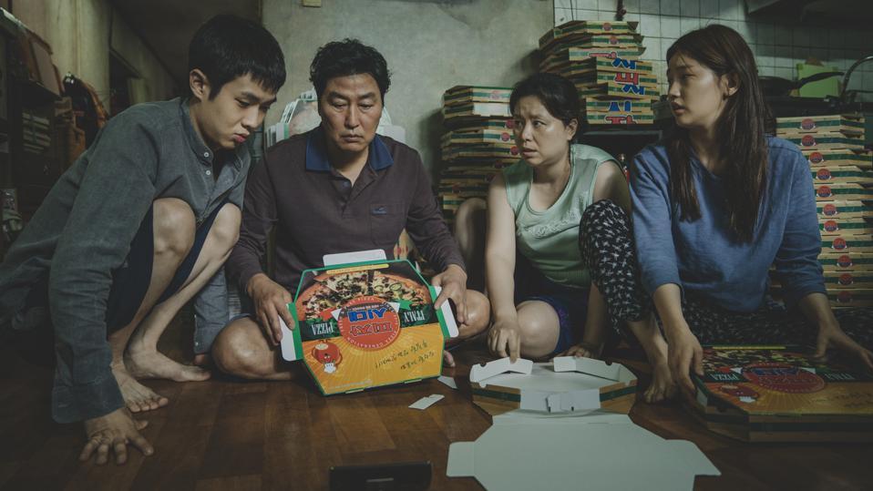 The Kim Family (Woo-sik Choi, Kang-ho Song, Hye-jin Jang, So-dam Park) in 'Parasite'