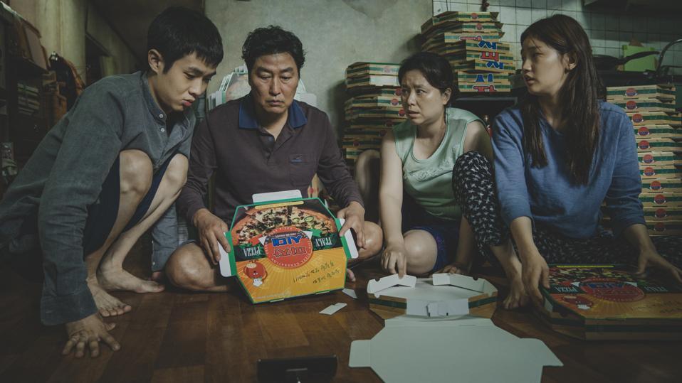 The Kim Family Woo-sik Choi Kang-ho Song Hye-jin Jang So-dam Park in 'Parasite'