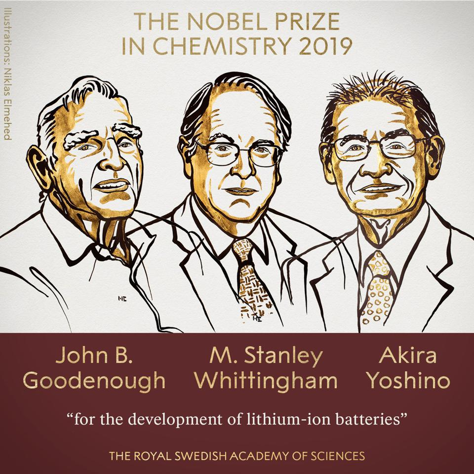 The winners of the Nobel Prize in Chemistry 2019.