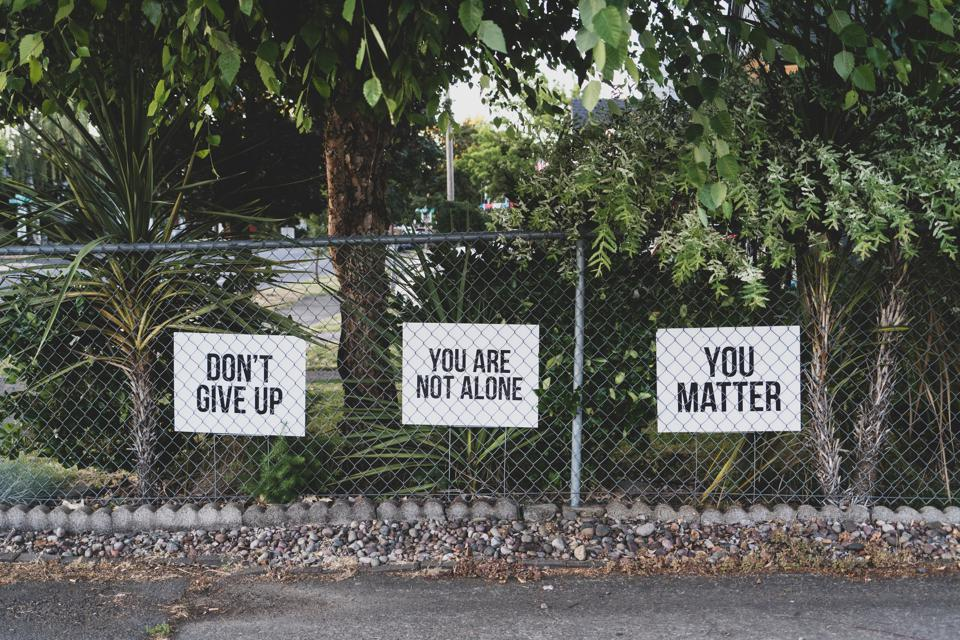 A fence with three different signs behind. All of them have motivational sentences on them