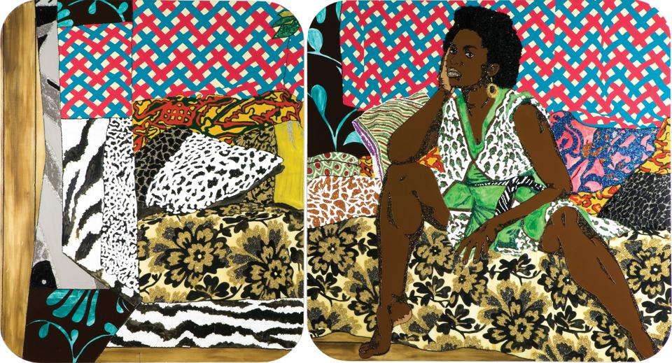 Mickalene Thomas, 'Baby I Am Ready Now,' 2007. Diptych, acrylic, rhinestone and enamel on wooden panel.