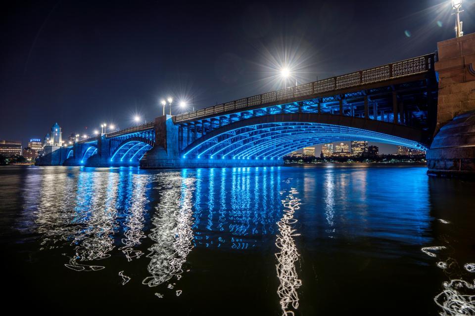 Longfellow Bridge lights at night