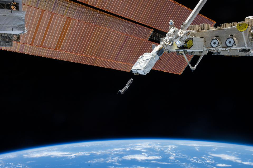 Small satellites deploy from the International Space Station, courtesy of a company called Nanoracks.