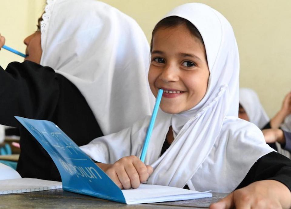 In August 2019, students at the Bibi Amina Girls High School in Panjshir, a province in the North of Afghanistan, are excited to be back in school with their new UNICEF school supplies.