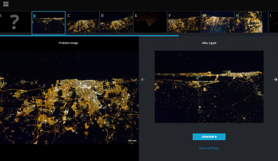 Lost at Night uses the power of citizen science to match images and identify the location of the astronauts' photographs online. Users are presented an image from an unknown city and they must try to find the best match by comparing it with several options.