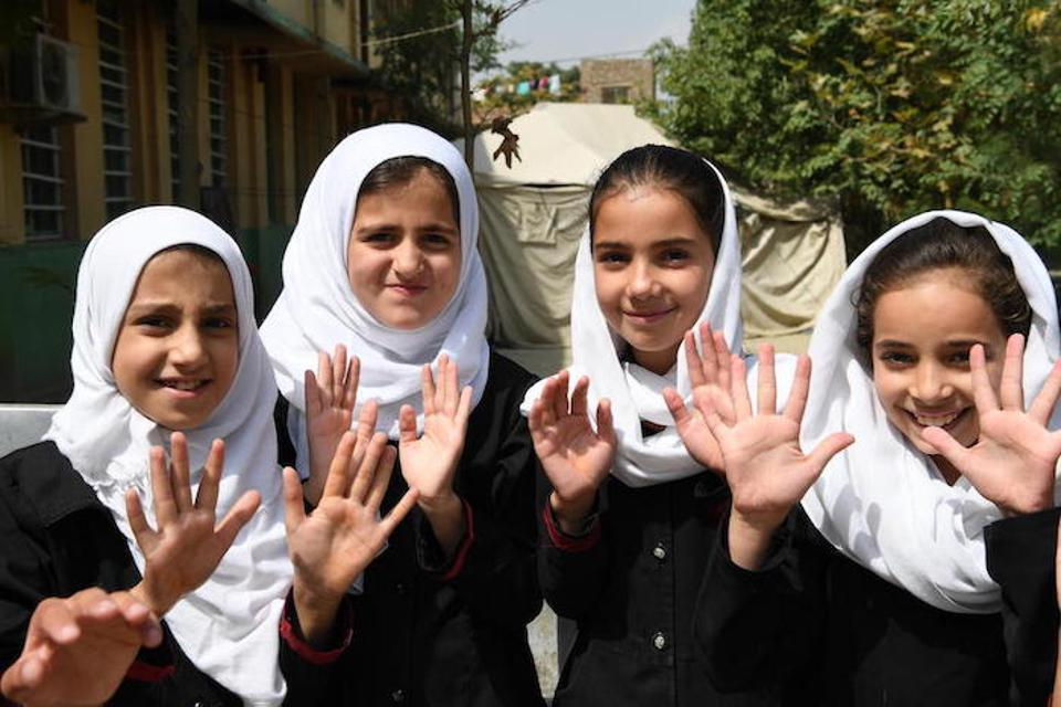 These girls have just washed their hands at UNICEF-supported BiBi Mehro Girls High School, in Kabul, the capital of Afghanistan.