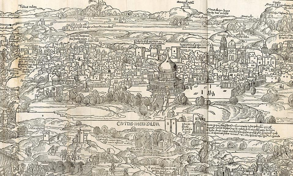 An illustration of Jerusalem by Erhard Reuwich featured in Bernhard von Breydenbach's book ″Peregrinatio in Terram Sanctam″
