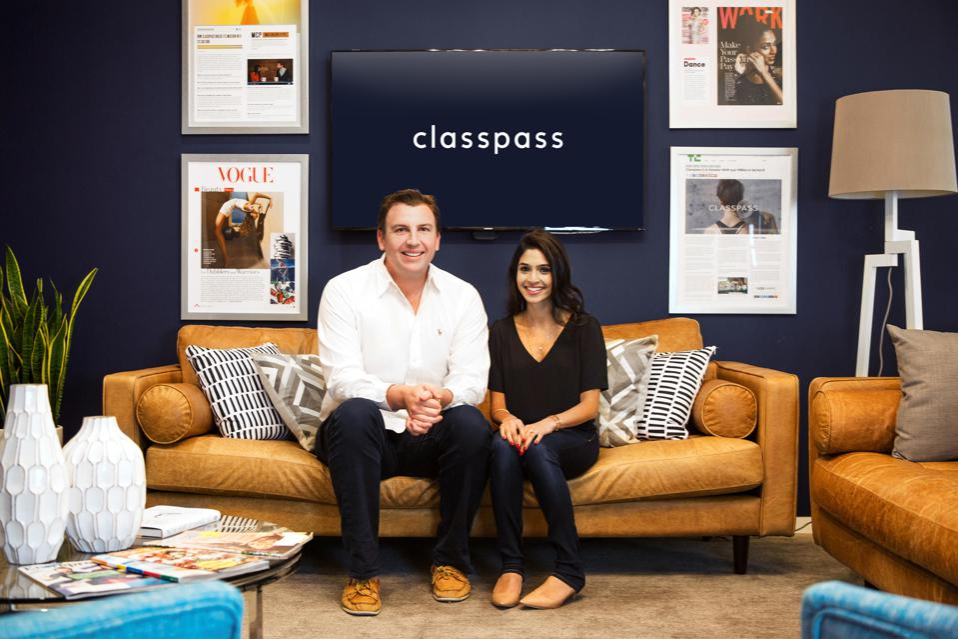 David Tisch introduced ClassPass founder Payal Kadakia, right, to Fritz Lanman, left, CEO.