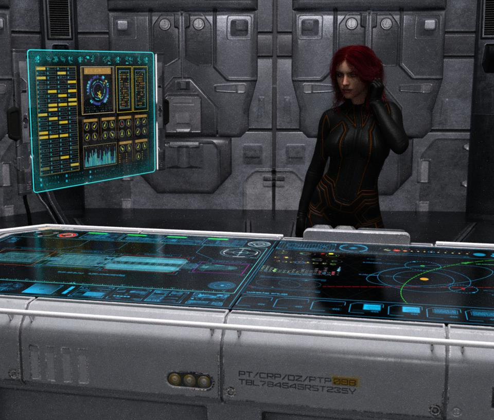 Sci-fi scene with dynamic computer table and high tech display.