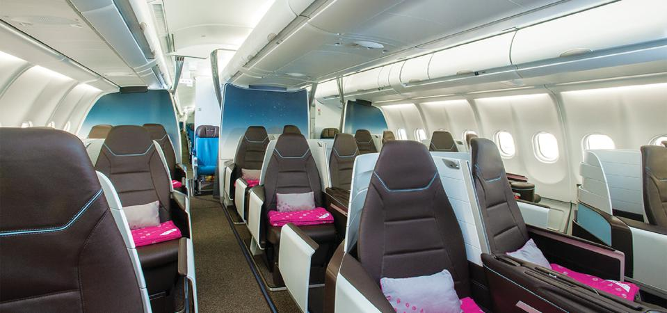 First-class seats on Hawaiian Airlines