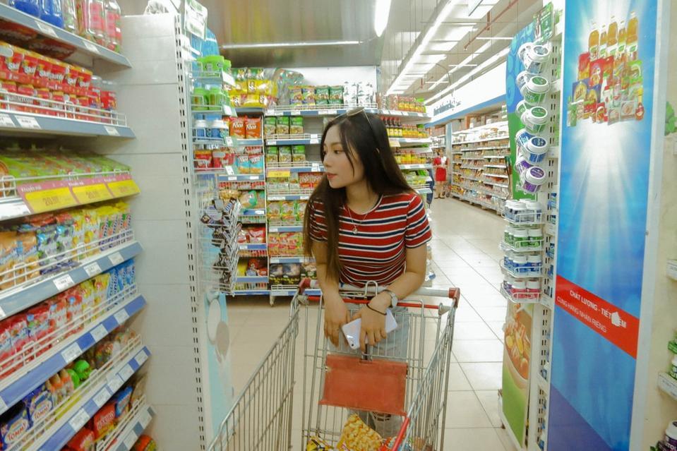 Woman making choosing a product