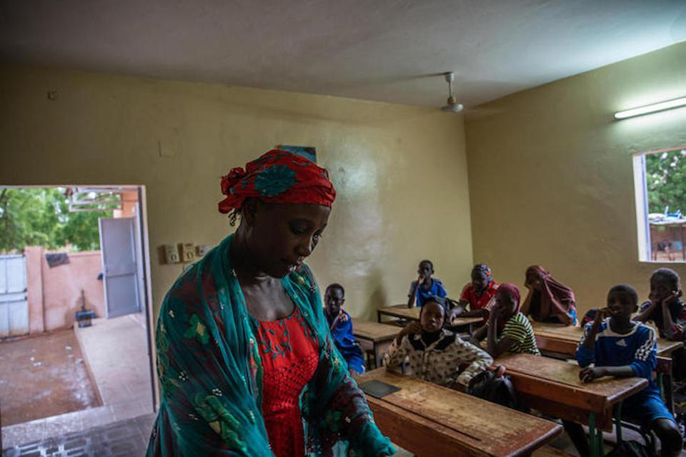 Pascaline's teacher, Garba Rahama, says all her students come to class prepared and motivated to learn.