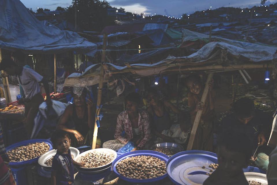 UNICEF-supported solar panels illuminate the Kutupalong-Balukhali mega camp in Cox's Bazar, Bangladesh on June 24, 2019.
