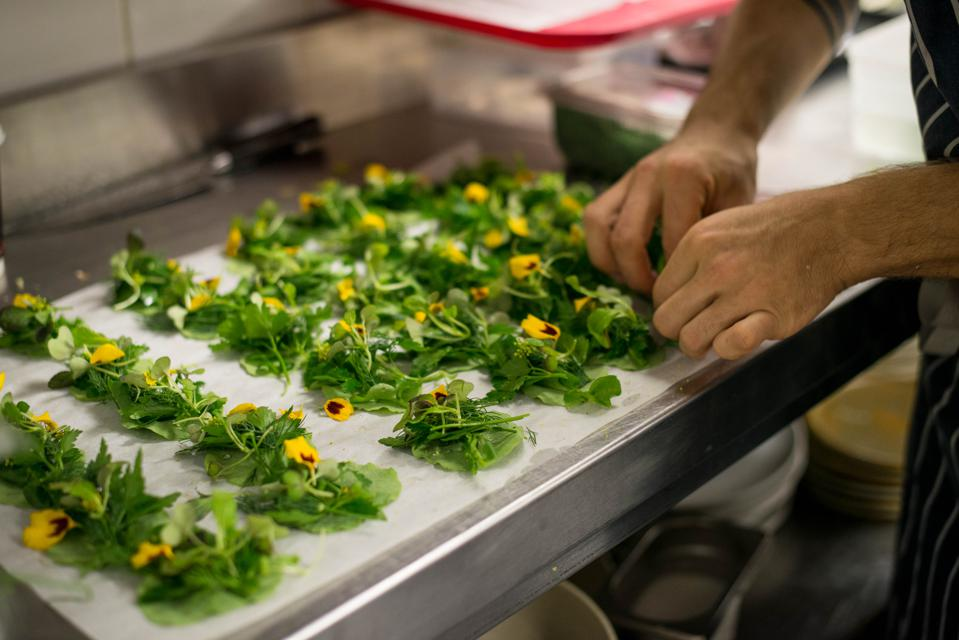 A pair of hands preparing a platter of green herbs and edible flowers