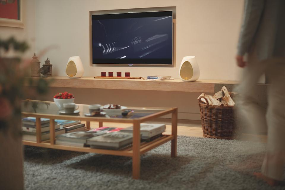 Two Linn Series 3 speakers either side of a TV.