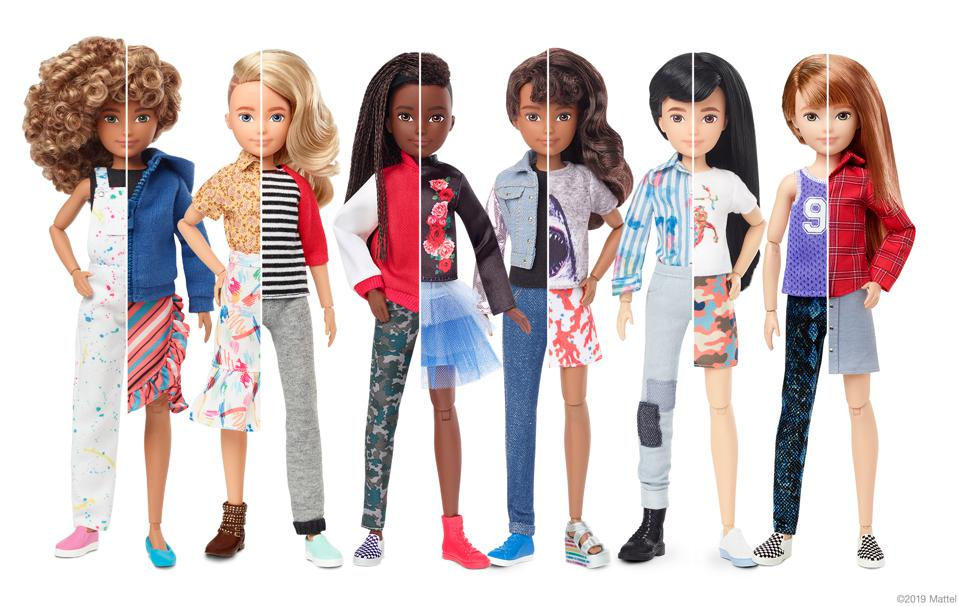 Creatable World Dolls demonstrating differen genders and racial identities.