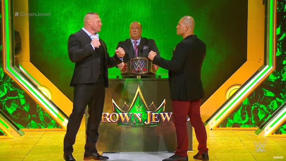 WWE Brock Lesnar Cain Velasquez WWE title Paul Heyman Crown Jewel Saudi Arabia Riyadh