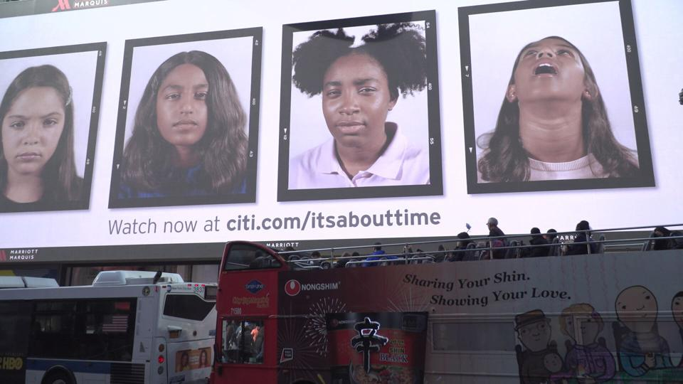Billboard featuring photographs from the campaign in the heart of Times Square, located at 1535 Broadway between 45th and 46th Streets above the Marriot Marquis.
