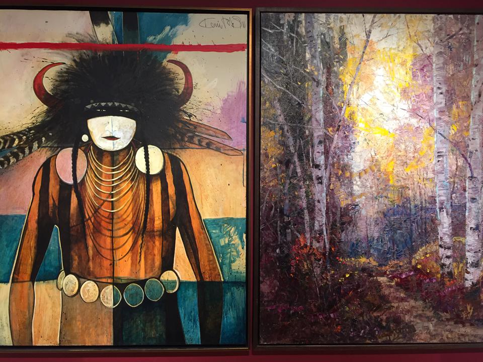 Kevin Red Star painting (left) side-by-side with Robert Moore at Dana Gallery in Missoula, Montana.