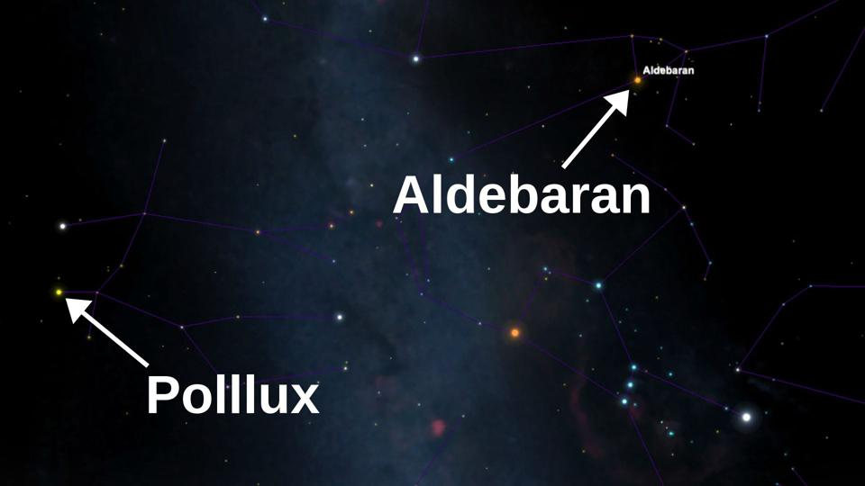 This week, Aldebaran can be seen just after midnight in the south, as seen from the northern hemisphere. Look above a rising Orion's Belt, with Pollux to the lower left.