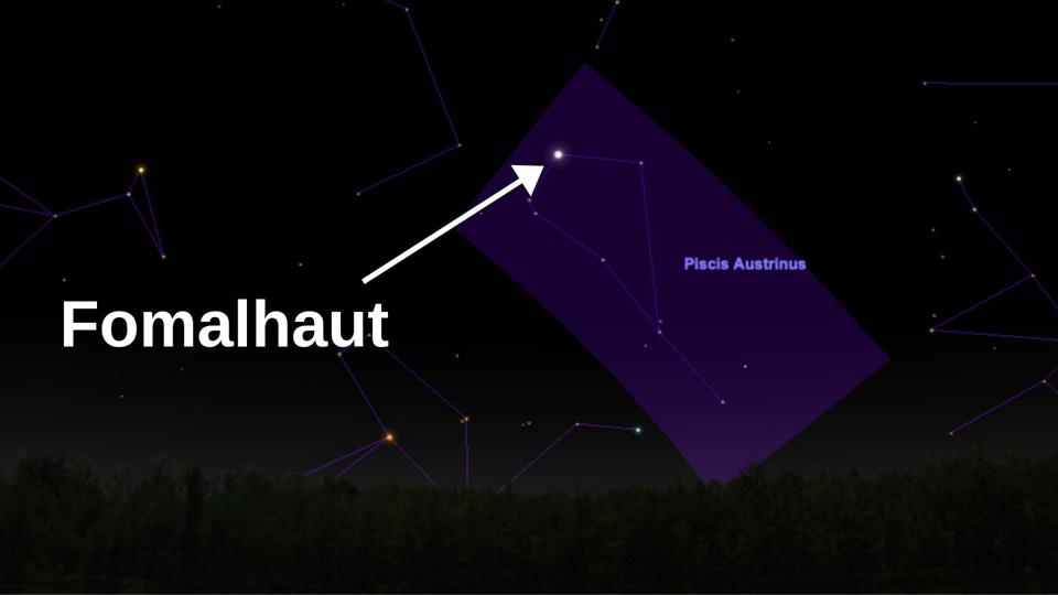 Low on the southern horizon about 10pm from the northern hemisphere—though the only bright star in the vicinity—bright star Fomalhaut hosts an exoplanet.