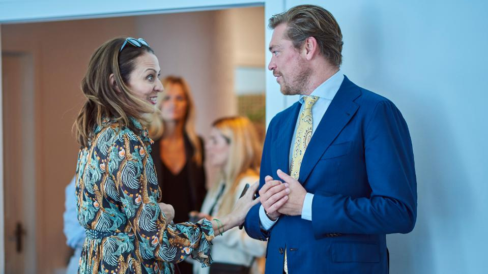 Caroline Rush, CEO of the British Fashion Council, and Sjoerd Fauser