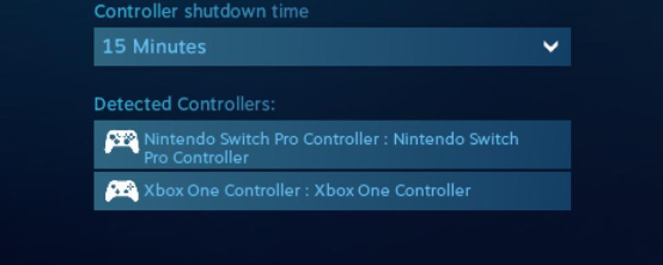 Both controllers paired via Bluetooth and recognized on Steam