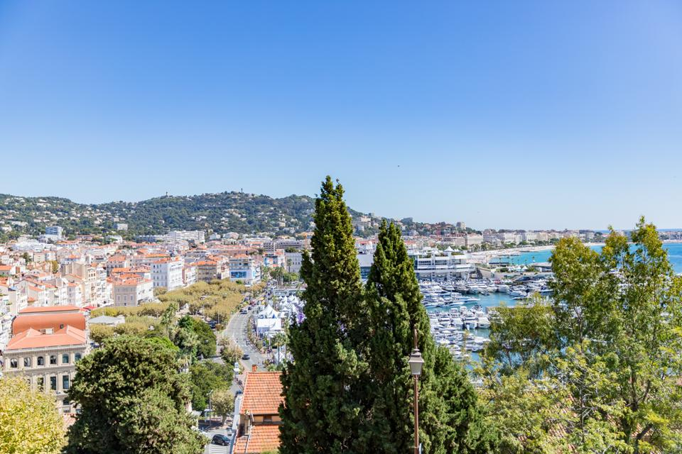 Cannes, France - View of the Old Port in Cannes from the road leading up to Musee de la Castre