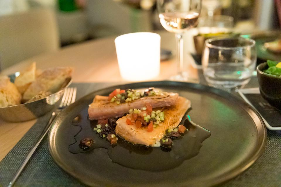 Cannes, France - The salmon at Le Roof Five Seas restaurant.