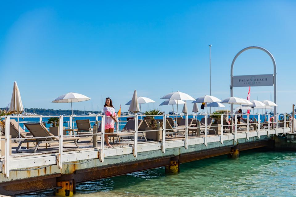 Cannes, France - View pf the pier at Palais Stephanie Plage in Cannes