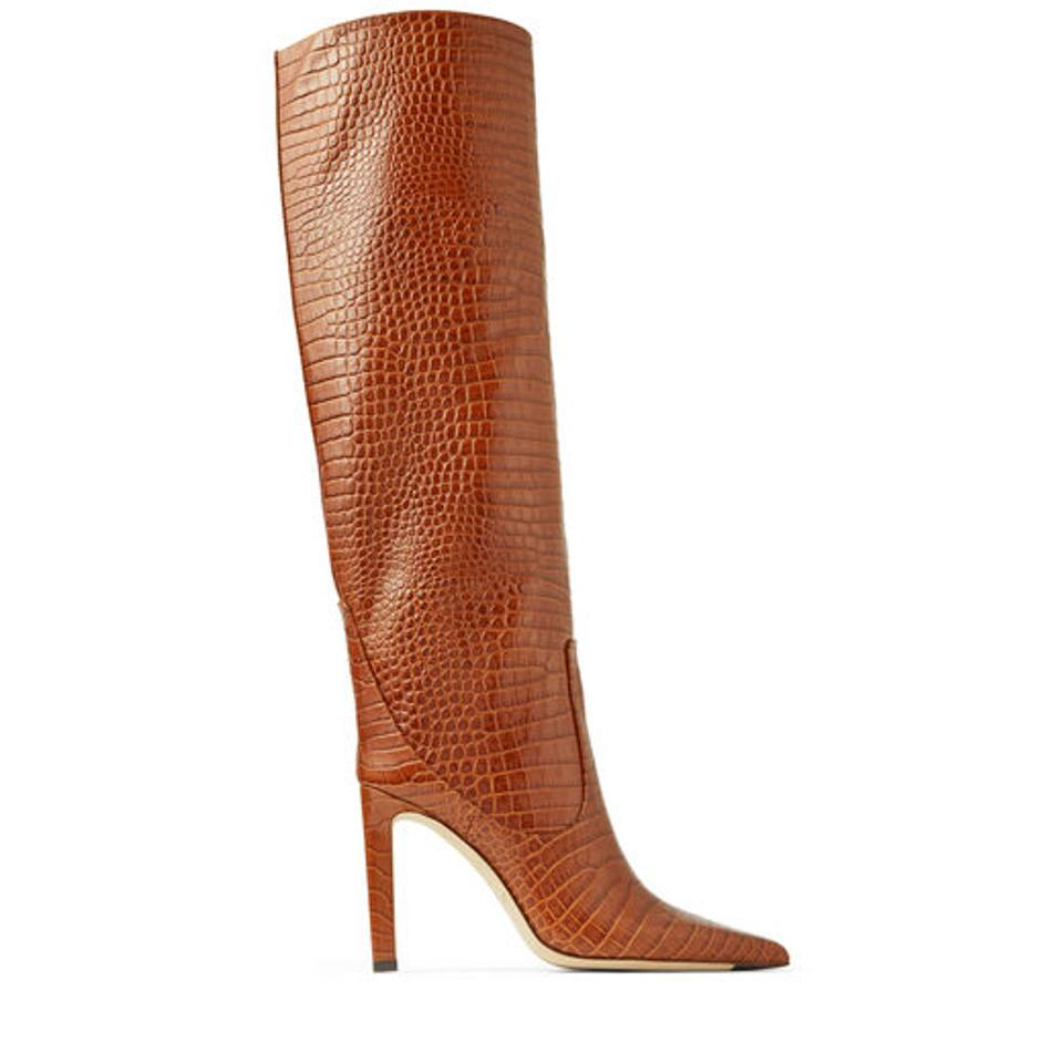Jimmy Choo MAVIS 100 Cuoio Croc Embossed Leather Knee High Boots