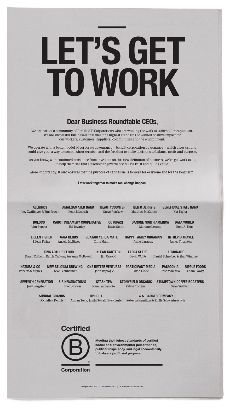 The New York Times B Corps Ad