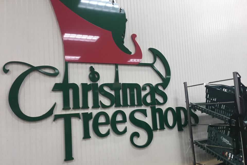 The Christmas Tree Shops logo displayed in a store in Paramus, N.J.