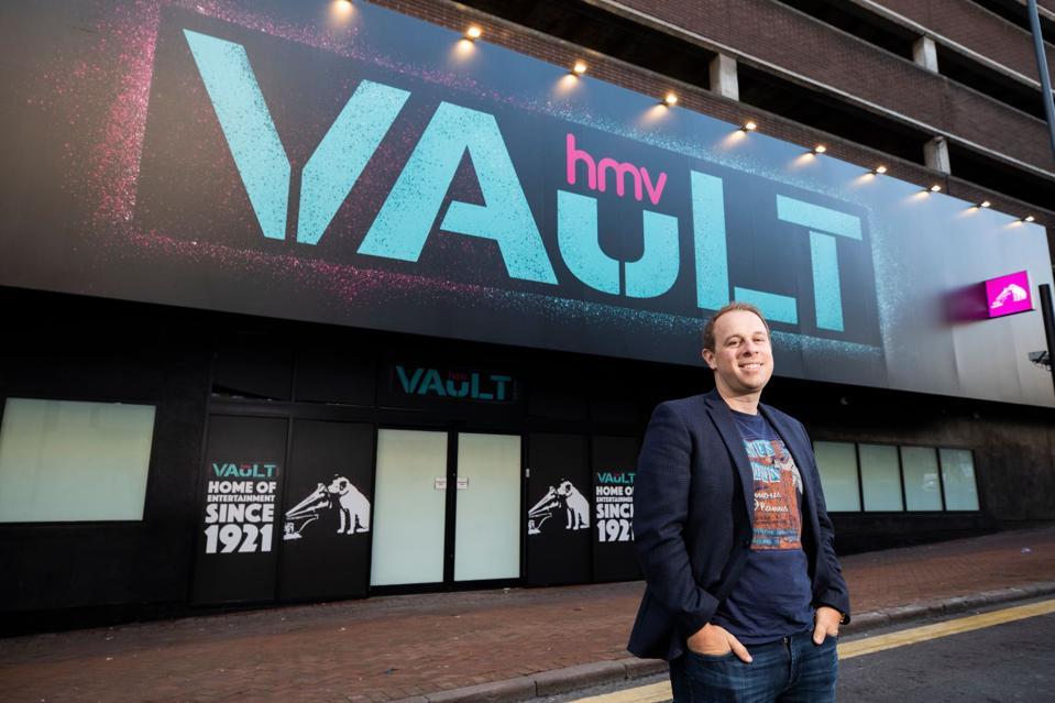 HMV boss outside the new store in Birmingham