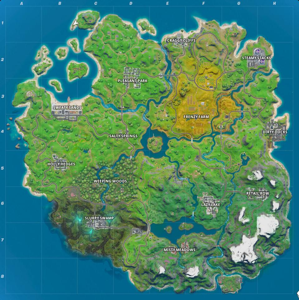 Here's The (Mostly) New 'Fortnite' Map And Every Named ...