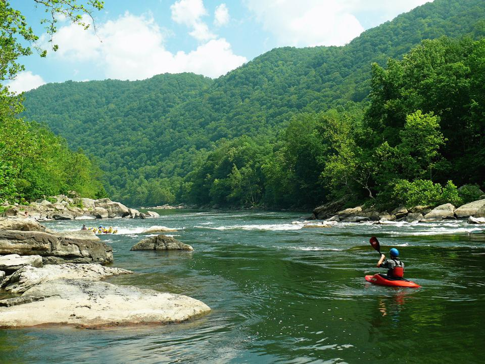 Kayaker on New River in West Virginia
