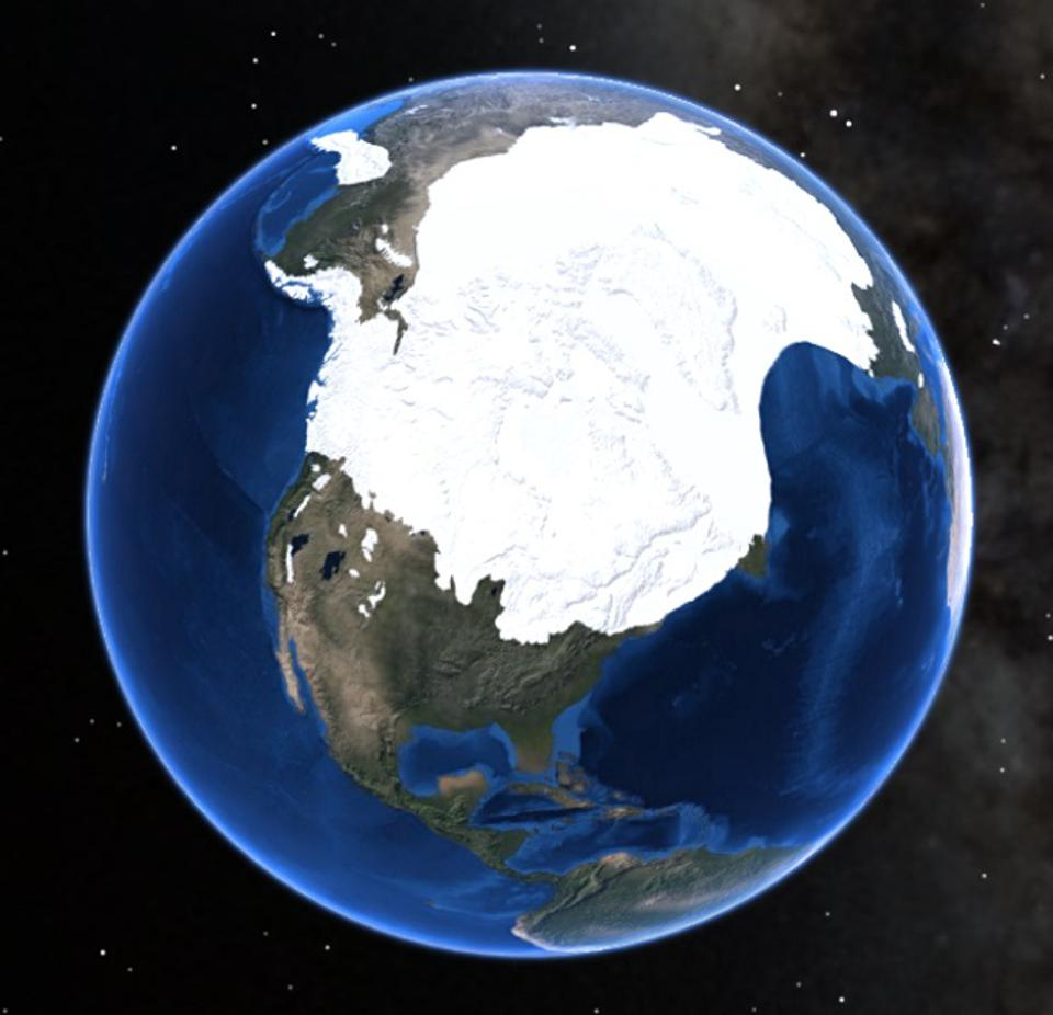 A visual depiction of the extent of glaciers covering North America during the last glacial maximum about 20,000 years ago.