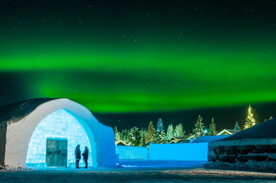 IceHotel with Northern Lights in Sweden